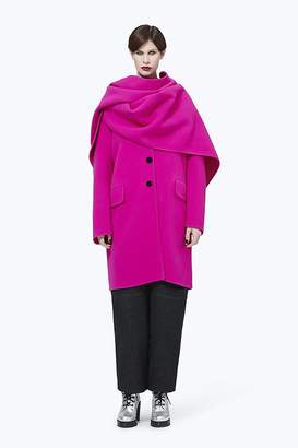 Marc Jacobs Notch-Collar Coat with Hood Scarf