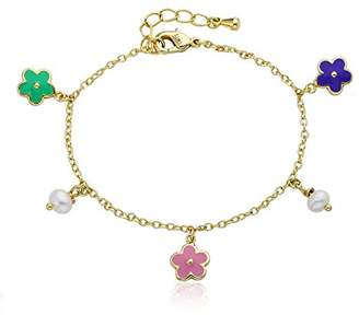 "Little Miss Twin Stars Girls' Frosted Flowers 14k Gold-Plated Colorful Enamel Flowers and Pearl Dangle Charm Bracelet. 5.5"" + 1"" Extender"