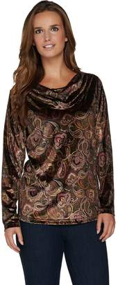 Susan Graver Printed Stretch Velvet Long Sleeve Drape Neck Top