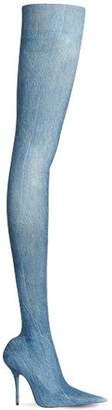 110mm Knife Denim Thigh High Boots