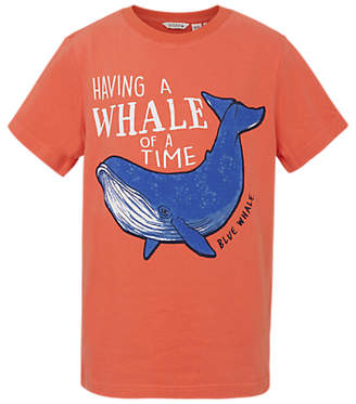 Fat Face Boys' Aloa Whale Print T-Shirt, Orange