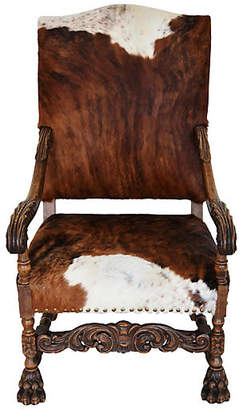 One Kings Lane Vintage Antique Carved Oak & Cowhide Armchair