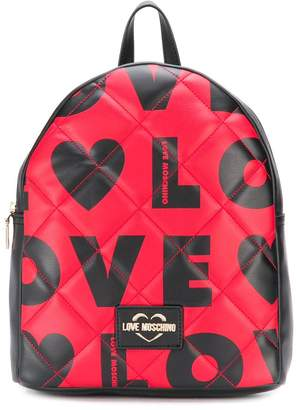 Love Moschino quilted-effect logo print backpack