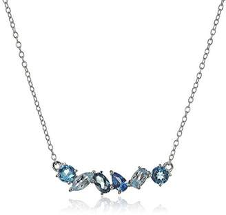 Sterling Silver Genuine Topaz and Created Aquamarine Horizontal Bar Necklace
