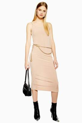 Topshop Womens Petite Ribbed Midi Bodycon Dress