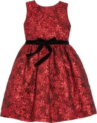 Oscar de la Renta Flower Metallic Jacquard Pleat Skirt Dress