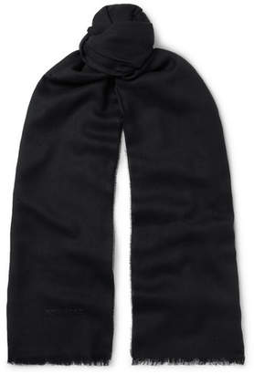 Tom Ford Logo-Embroidered Cashmere, Silk and Wool-Blend Twill Scarf - Men - Black