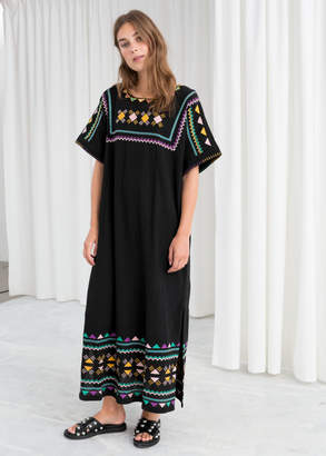 And other stories Embroidered Belted Kaftan Dress