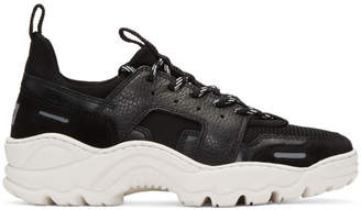 Ami Alexandre Mattiussi Black Neoprene and Leather Lucky 9 Sneakers