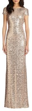 Badgley Mischka Sequin Cowl-Back Gown $615 thestylecure.com