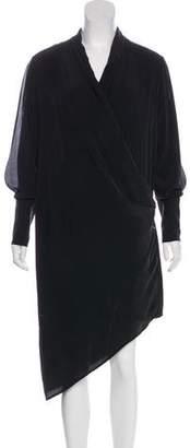 Haute Hippie Silk Long Sleeve Midi Dress