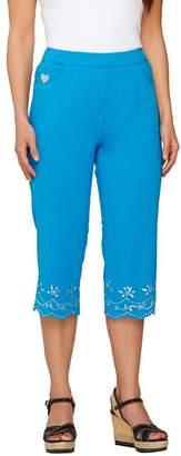 Factory Quacker DreamJeannes Silver Sparkle Floral Scallop Capri Pants