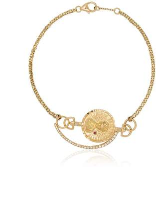 Anissa Kermiche metallic 18K gold coin diamond bracelet