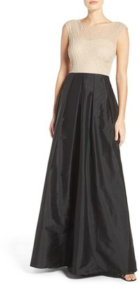Women's Adrianna Papell Beaded Illusion Bodice Gown With Taffeta Skirt $299 thestylecure.com
