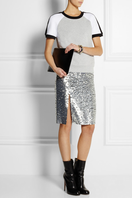DKNY Sequined silk-chiffon skirt