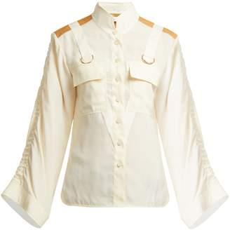 Chloé Mandarin-collar patch-pocket blouse