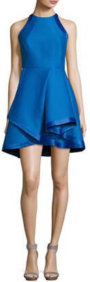 Halston Sleeveless High-Neck Structured Cocktail Dress, Cobalt