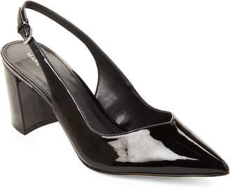 Marc Fisher Black Catling Patent Slingback Pumps