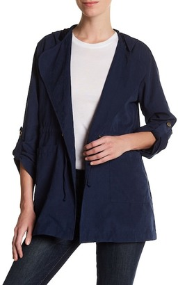 Live a Little Lightweight Tie Front Hooded Jacket (Petite) $70 thestylecure.com