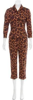 Dolce & Gabbana Giraffe Printed Two-Piece Pantsuit