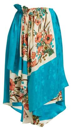 Gucci Poppy Print Silk Jacquard Wrap Skirt - Womens - Pink Multi