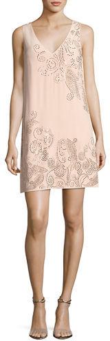 Trina Turk Glitterati Embellished Paisley Silk Shift Dress