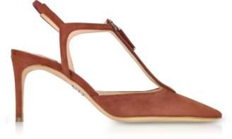 Rodo Brown Suede High Heel Zip Sandals