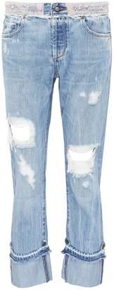 Tortoise Denim 'Herma' faux pearl roll cuff ripped jeans