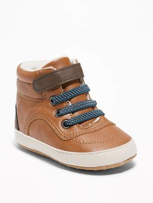Old Navy Sherpa-Lined Faux-Leather Sneakers for Baby