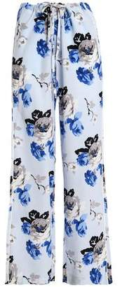 Theory Winszlee Floral-Print Silk Wide-Leg Pants