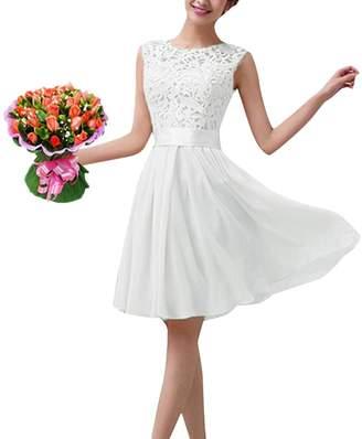 Romacci Women Chiffon Lace Dress Sleeveless O Neck Solid Color Elegant Princess Party Dress