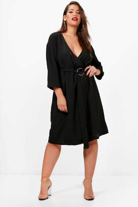 boohoo Plus Molly Ring Belted Wrap Dress