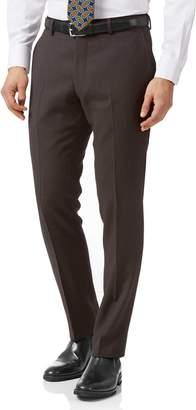 Charles Tyrwhitt Brown Slim Fit Birdseye Travel Suit Wool Pants Size W32 L30