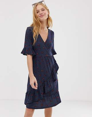 Warehouse lips print wrap tea dress