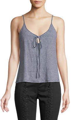 A.L.C. Gia Striped Linen Keyhole Tank Top
