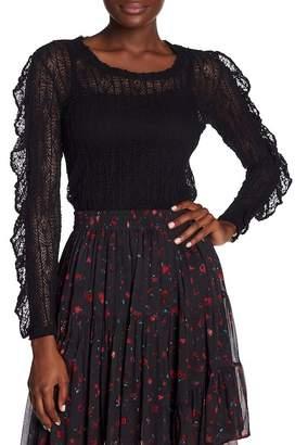 IRO Ruffle Trim Lace Knit Blouse