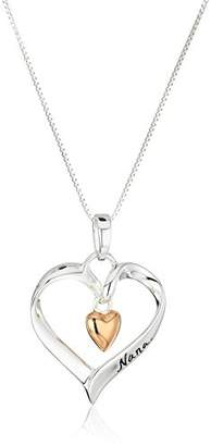"Rosegold Two-Tone Sterling and Rose-Gold Flashed""Nana You Are Loved"" Heart Pendant Necklace"