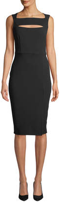 Neiman Marcus Cutout Square-Neck Crepe A-Line Dress