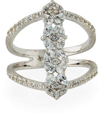 Jude Frances Silver Open Flower Pave Ring, Size 6.5