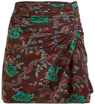 Isabel Marant Ruffle Floral Print Skirt - Womens - Burgundy Multi