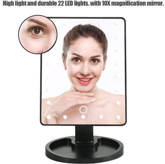 Qiilu 22 LED Lights Makeup Mirror Touch Screen Lighted Rotatable Tabletop Cosmetic Mirror with Detachable 10X Magnification Spot Mirror Batteries not Included Gift for Women