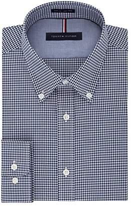 Tommy Hilfiger Men's Non Iron Slim Fit Gingham Buttondown Collar Dress Shirt