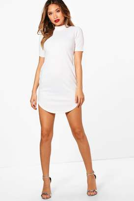 boohoo Ribbed Curved Hem Bodycon Dress