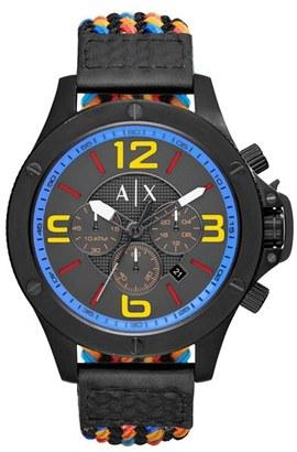 Men's Ax Armani Exchange Chronograph Woven Cord Strap Watch, 48Mm $230 thestylecure.com