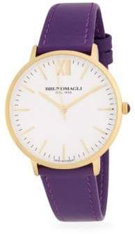 Bruno Magli Stainless Steel Slim Leather Strap Watch