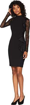 Bebe Women's Bodycon Sheath with Ruffle Front and Lace Sleeves