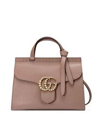 Gucci GG Marmont Small Pearly Top-Handle Satchel Bag, Nude $2,490 thestylecure.com