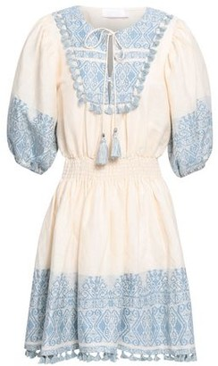 Zimmermann Tassel-trimmed Embroidered Cotton And Linen-blend Mini Dress
