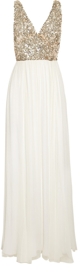 Rachel Gilbert Aria sequined silk-chiffon gown