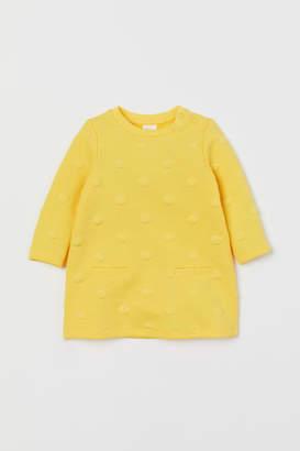 H&M Jacquard-knit Jersey Dress - Yellow